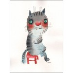 The very introvert cat sitting on a red chair